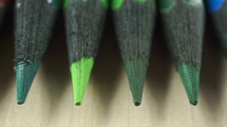 ołówek : A set of black wood color pencils, pencil leads macro dolly shot