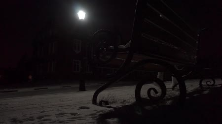 fur boots : 3 videos in 1: girl in fur coat walking in snowy residential area at night Stock Footage