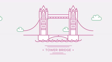 prominent : London Tower bridge. Part of the set. Animated outlined landmark 4K footage