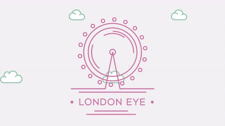 prominent : London Eye. Part of the set. Animated outlined landmark 4K footage