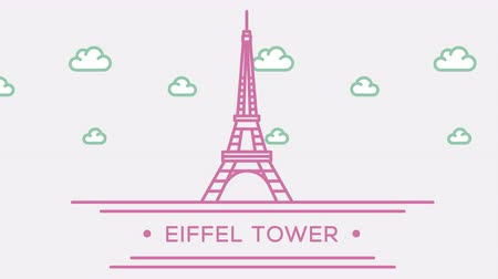 prominent : Eiffel tower in Paris. Part of the set. Animated outlined landmark 4K footage
