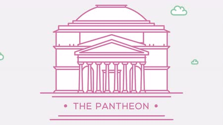 prominent : Pantheon in Rome, Italy. Part of the set. Animated outlined landmark 4K footage Stock Footage