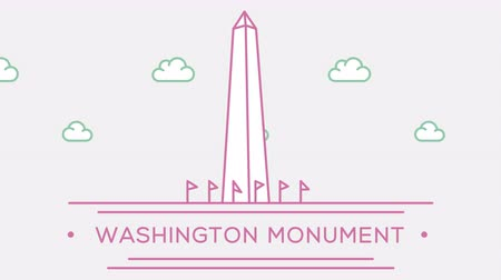 prominent : Washington monument. Part of the set. Animated outlined landmark 4K footage