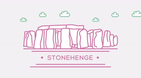 prominent : Stonehenge. Part of the set. Animated outlined landmark 4K footage