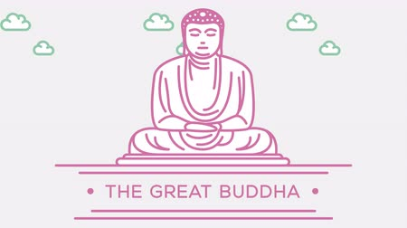 японский рисунок : Great Buddha statue. Part of the set. Animated outlined landmark 4K footage