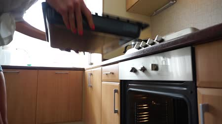 kitchen furniture : A baking tray being placed in a stove