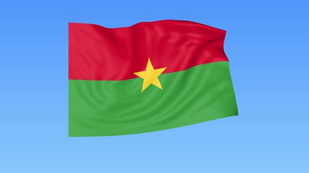unify : Waving flag of Burkina Faso, seamless loop. Exact size, blue background. Part of all countries set. 4K ProRes, alpha