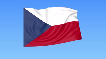 unify : Waving flag of Czech Republic, seamless loop. Exact size, blue background. Part of all countries set. 4K ProRes Stock Footage