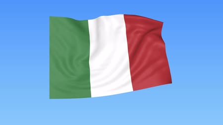 unify : Waving flag of Italy, seamless loop. Exact size, blue background. Part of all countries set. 4K ProRes with alpha. Stock Footage