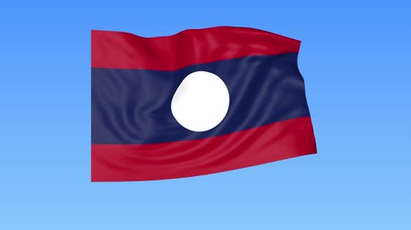 unify : Waving flag of Laos, seamless loop. Exact size, blue background. Part of all countries set. 4K ProRes with alpha.