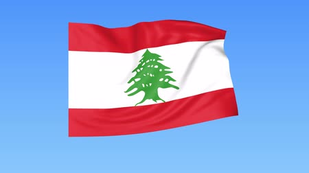 unify : Waving flag of Lebanon, seamless loop. Exact size, blue background. Part of all countries set. 4K ProRes with alpha.