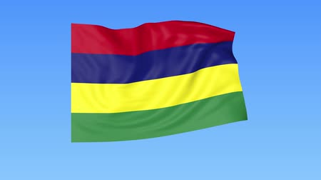 доля : Waving flag of Mauritius, seamless loop. Exact size, blue background. Part of all countries set. 4K ProRes with alpha.