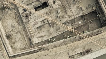 основа : Aerial view of cranes on big construction site of dwelling houses and offices