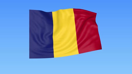 romeno : Waving flag of Romania, seamless loop. Exact size, blue background. Part of all countries set. 4K ProRes with alpha. Stock Footage
