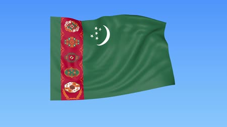 unify : Waving flag of Turkmenistan, seamless loop. Exact size, blue background. Part of all countries set. 4K ProRes with alpha