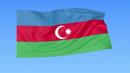 доля : Waving flag of Azerbaijan, seamless loop. Exact size, blue background. Part of all countries set. 4K ProRes with alpha Стоковые видеозаписи