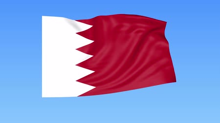 unify : Waving flag of Bahrain, seamless loop. Exact size, blue background. Part of all countries set. 4K ProRes with alpha