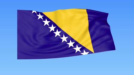 bosnia and herzegovina : Waving flag of Bosnia and Herzegovina, seamless loop. Exact size, blue background. Part of all countries set. 4K Stock Footage