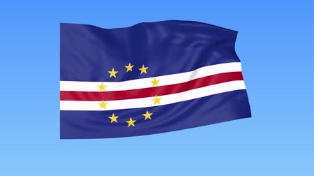 unify : Waving flag of Cabo Verde, seamless loop. Exact size, blue background. Part of all countries set. 4K ProRes with alpha
