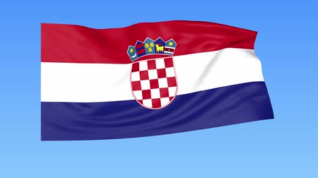 unify : Waving flag of Croatia, seamless loop. Exact size, blue background. Part of all countries set. 4K ProRes with alpha