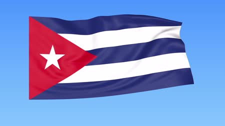 kuba : Waving flag of Cuba, seamless loop. Exact size, blue background. Part of all countries set. 4K ProRes with alpha Stock mozgókép