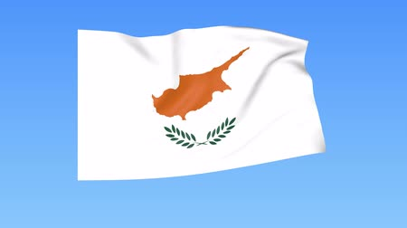 unify : Waving flag of Cyprus, seamless loop. Exact size, blue background. Part of all countries set. 4K ProRes with alpha Stock Footage