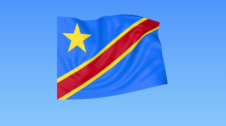 доля : Waving flag of Democratic Republic of the Congo, seamless loop. Exact size, blue background. Part of all countries set