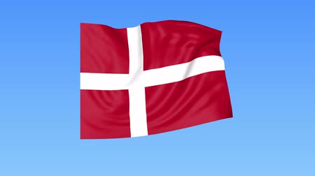 доля : Waving flag of Denmark, seamless loop. Exact size, blue background. Part of all countries set. 4K ProRes with alpha