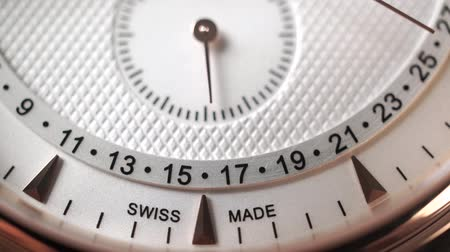 atrás : Swiss made chronograph moving second hand. Slow motion macro dolly shot Stock Footage