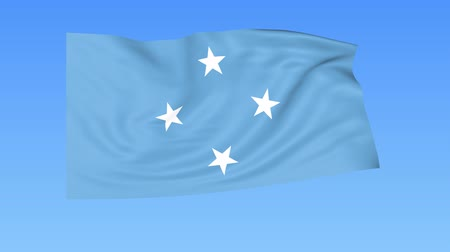 unify : Waving flag of Federal States of Micronesia, seamless loop. Exact size, blue background. Part of all countries set. 4K Stock Footage