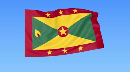 unify : Waving flag of Grenada, seamless loop. Exact size, blue background. Part of all countries set. 4K ProRes with alpha