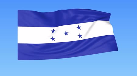 unify : Waving flag of Honduras, seamless loop. Exact size, blue background. Part of all countries set. 4K ProRes with alpha