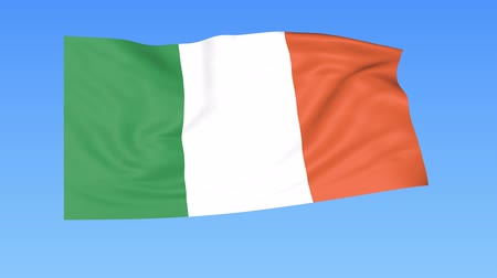 İrlanda : Waving flag of Ireland, seamless loop. Exact size, blue background. Part of all countries set. 4K ProRes with alpha
