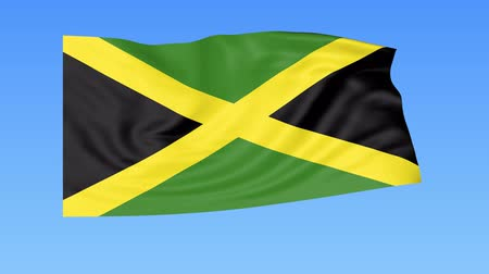 доля : Waving flag of Jamaica, seamless loop. Exact size, blue background. Part of all countries set. 4K ProRes with alpha