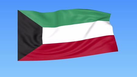 unify : Waving flag of Kuwait, seamless loop. Exact size, blue background. Part of all countries set. 4K ProRes with alpha Stock Footage