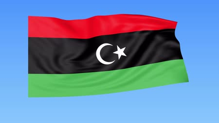 доля : Waving flag of Libya, seamless loop. Exact size, blue background. Part of all countries set. 4K ProRes with alpha