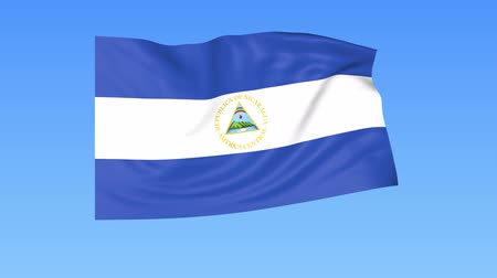 доля : Waving flag of Nicaragua, seamless loop. Exact size, blue background. Part of all countries set. 4K ProRes with alpha Стоковые видеозаписи