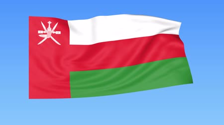 unify : Waving flag of Oman, seamless loop. Exact size, blue background. Part of all countries set. 4K ProRes with alpha