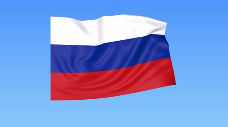ruský : Waving flag of Russia, seamless loop. Exact size, blue background. Part of all countries set. 4K ProRes with alpha Dostupné videozáznamy