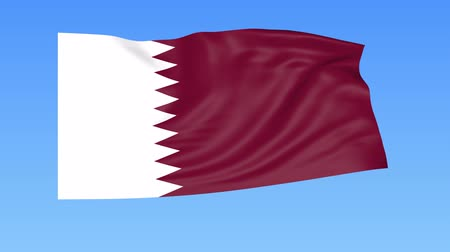 unify : Waving flag of Qatar, seamless loop. Exact size, blue background. Part of all countries set. 4K ProRes with alpha