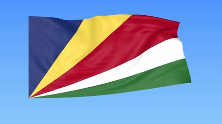 доля : Waving flag of Seychelles, seamless loop. Exact size, blue background. Part of all countries set. 4K ProRes with alpha
