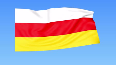 доля : Waving flag of South Ossetia, seamless loop. Exact size, blue background. Part of all countries set. 4K ProRes, alpha