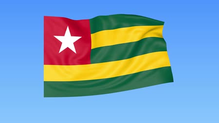 unify : Waving flag of Togo, seamless loop. Exact size, blue background. Part of all countries set. 4K ProRes with alpha