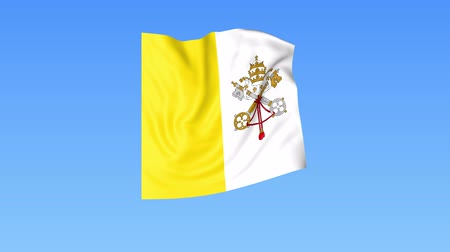 unify : Waving flag of Vatican, seamless loop. Exact size, blue background. Part of all countries set. 4K ProRes with alpha Stock Footage