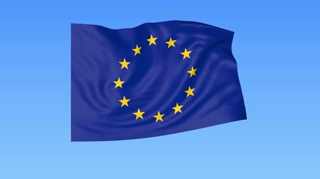 unify : Waving European union flag, exact size, blue background. 4K, loopable, ProRes
