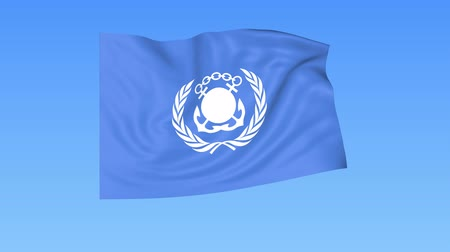 egyesült : UN International Maritime Organization IMO flapping flag. Seamless looping, 4K ProRes with alpha channel