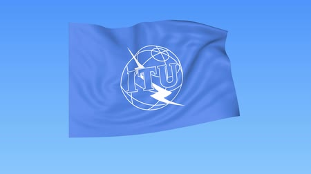 peacekeeping : UN International Telecommunication Union ITU flapping flag. Seamless looping, 4K ProRes with alpha channel