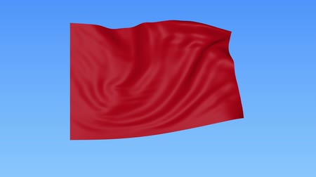 unify : Waving glossy red flag, seamless loop. Blue background. Part of set. 4K ProRes with alpha