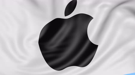 apple headquarter : Close up of waving flag with Apple Inc. logo, seamless loop, blue background. Editorial animation.