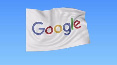 bulmak : Waving flag with Google logo, seamless loop, blue background. Editorial animation. Stok Video